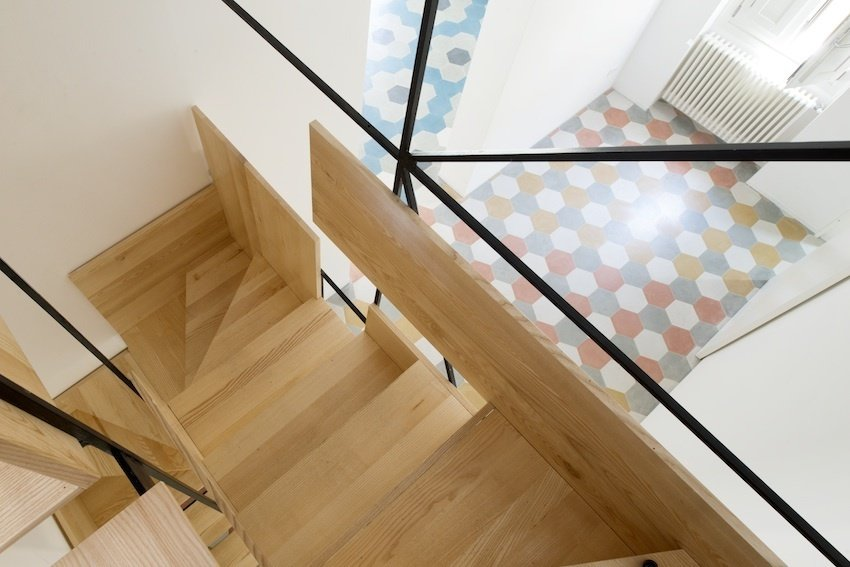 An aerial view of Librizzi's layered staircase shows how the wood steps are pieced together.  190+ Best Modern Staircase Ideas by Dwell from A Mind-Blowing, Mondrian-Esque Staircase