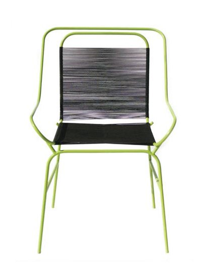 The Alaska Chair is made of steel and seine twine.