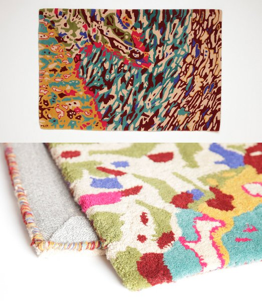 Anntian wool carpet, $590, handtufted in a graffiti print.