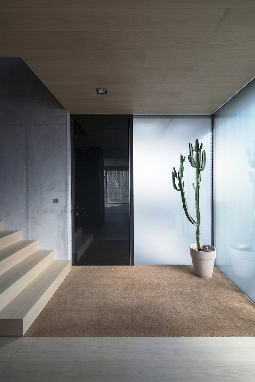 Wood, carpet, glass, and concrete: the entryway is a nexus of material and textures. Tagged: Staircase and Wood Tread.  Photo 3 of 11 in 10 Fantastically Sleek Foyer Designs from Super Minimal Steel and Concrete Villa with an Unusual Facade