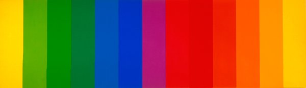 A piece from the museum's permanent collection. Ellsworth Kelly, American, born 1923; Spectrum II, 1966–1967; oil on canvas; 80 inches x 22 feet 9 inches; Saint Louis Art Museum, Funds given by the Shoenberg Foundation, Inc. 4:1967a-m © Ellsworth Kelly.