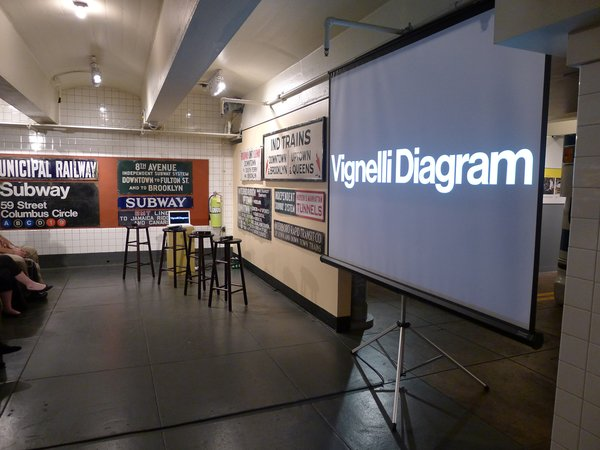 A talk about the history of Vignelil's subway map, appropriately held in a former train station. Vintage signs from the old independent systems adorn the walls. Photo provided by the New York Transit Museum.