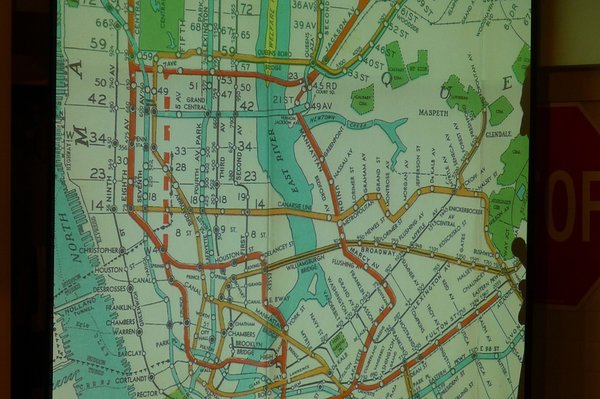 It's hard to make sense of this early subway map. Photo provided by the New York Transit Museum.