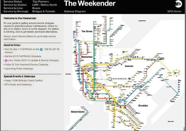 The Vignelli map reincarnated. The Weekender app for iPhone and Droid also lives online. Provided by the New York Transit Museum.