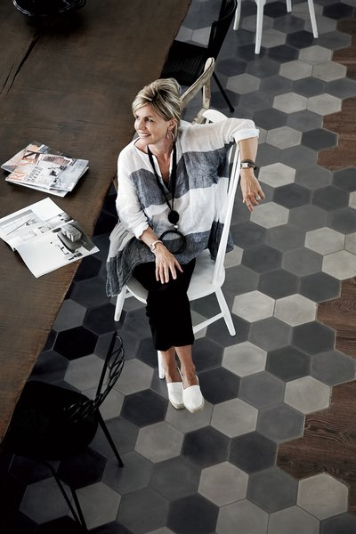 Andrea Falkner-Campi and her husband commissioned designer Paola Navone to renovate an old tobacco factory in Spello, Italy.