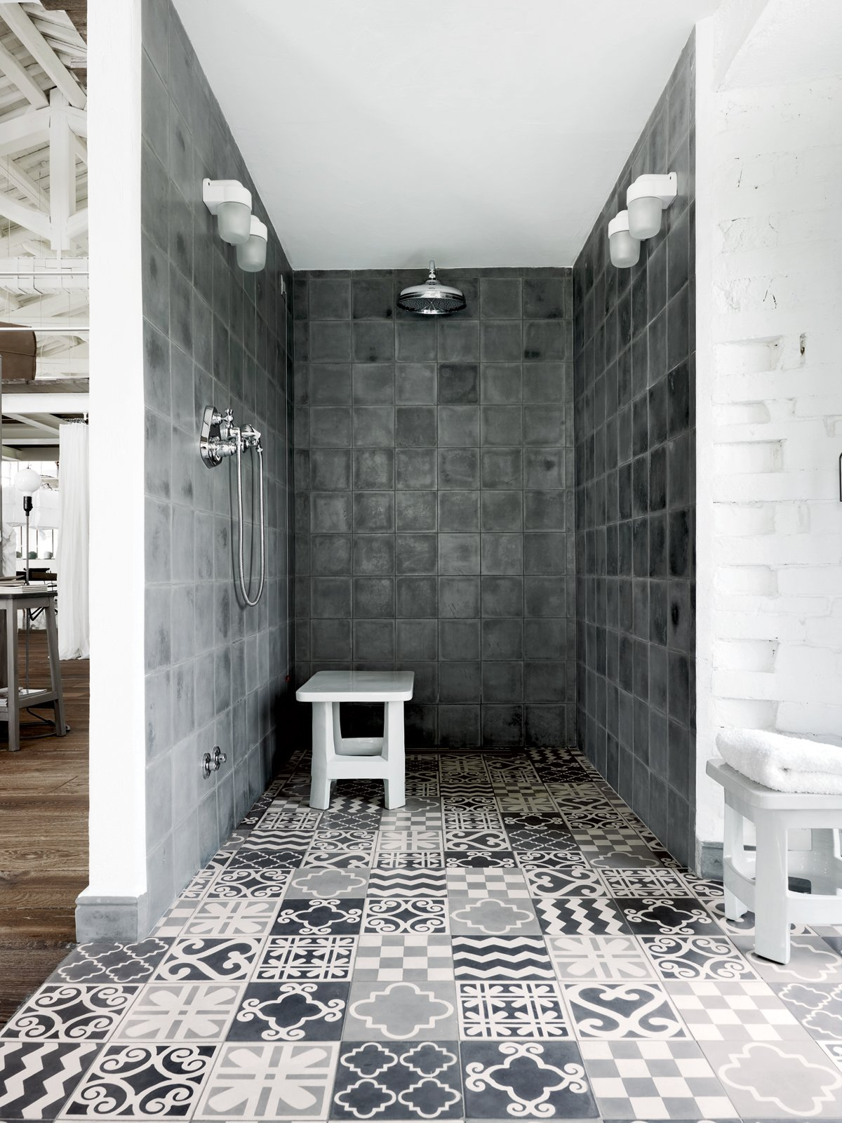 In the shower: custom Carocim tile, created in Morocco. Tagged: Bath Room and Open Shower.  Photo 6 of 11 in Paola Navone's Industrial Style Renovation in Italy