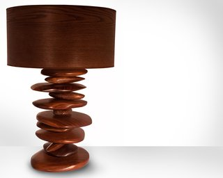 "Mastering the Wood Grain - Photo 12 of 14 - The hand carved walnut ""rocks"" that form the base of this Rock Pile lamp are stacked and spin independently of one another, allowing the pile to change shape. ""In contrast to the pixel style of design I often incorporate into pieces, these rocks are my way of being more freeform and not so meticulous,"" says Michael Rupich."