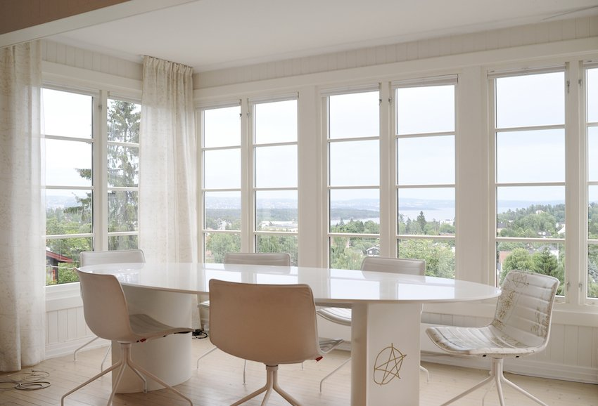 It was vital for Solbjør to highlight the home's expansive view of the Oslo fjord.  Charred Cedar by Patrick Sisson