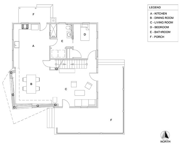 Lower level floor plan.  Photo 21 of 22 in A Mind-Bending Renovation Brings a Bold, Modern Addition to an Old Farmhouse