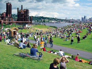 Charles Birnbaum on the Future of Landscape Architecture - Photo 3 of 6 - Acquired by the city of Seattle in 1962, the site of Gas Works Park was used to produce gas and crude oil. Richard Haag's 1975 design recast the industrial site as a grand park, replete with a play barn and picnic zones.
