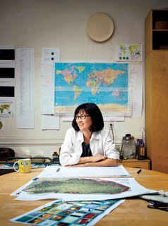 Maya Lin in her New York City studio. Her latest multimedia work, What is Missing?, is a memorial for extinct species.