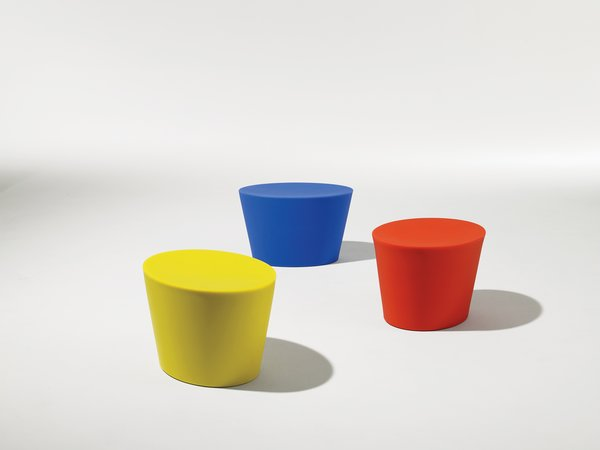 Lin's Stones outdoor furniture line for Knoll was recently reintroduced in recycled polyethylene.