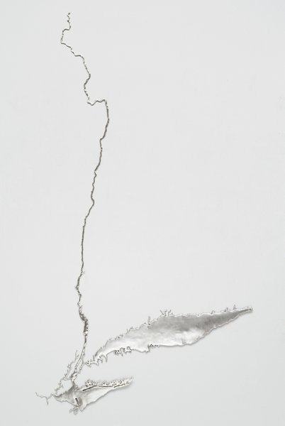 The 2011 work Silver Hudson renders the waterway in recycled silver.