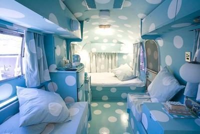 If Japanese artist Yayoi Kusama designed the interior of an Airstream trailer. Via The Airstream Dream.  Cool Airstreams by Eujin Rhee