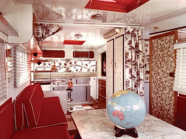 Holy kitsch! The interior of this 1964 Jackson Caravelle is 16 feet and 9 inches full of red marbly, patterned glamor. Photo courtesy: Bryan Jackson via Chris Hunter.  Cool Airstreams by Eujin Rhee