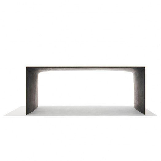 Concrete Gable Table by Christian Flindt-A table that combines fiber concrete and ash wood. Due to the robust nature of the concrete, the ash veneer can be made extra thin without breaking.