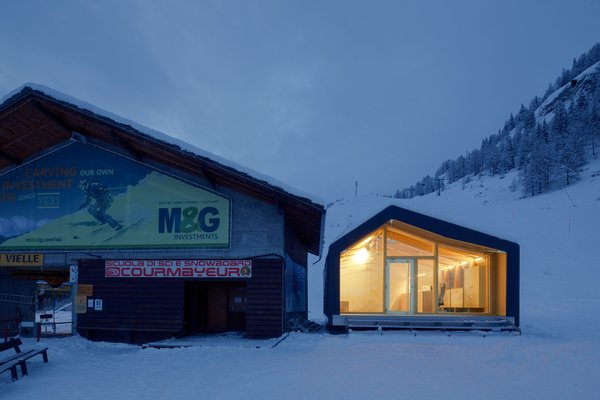 """Architect Stefano Girodo explains the building has a """"completely prefabricated and modular structure."""" It was built using recyclable and environmentally friendly materials and designed to ensure easy mechanical assembly once on site."""