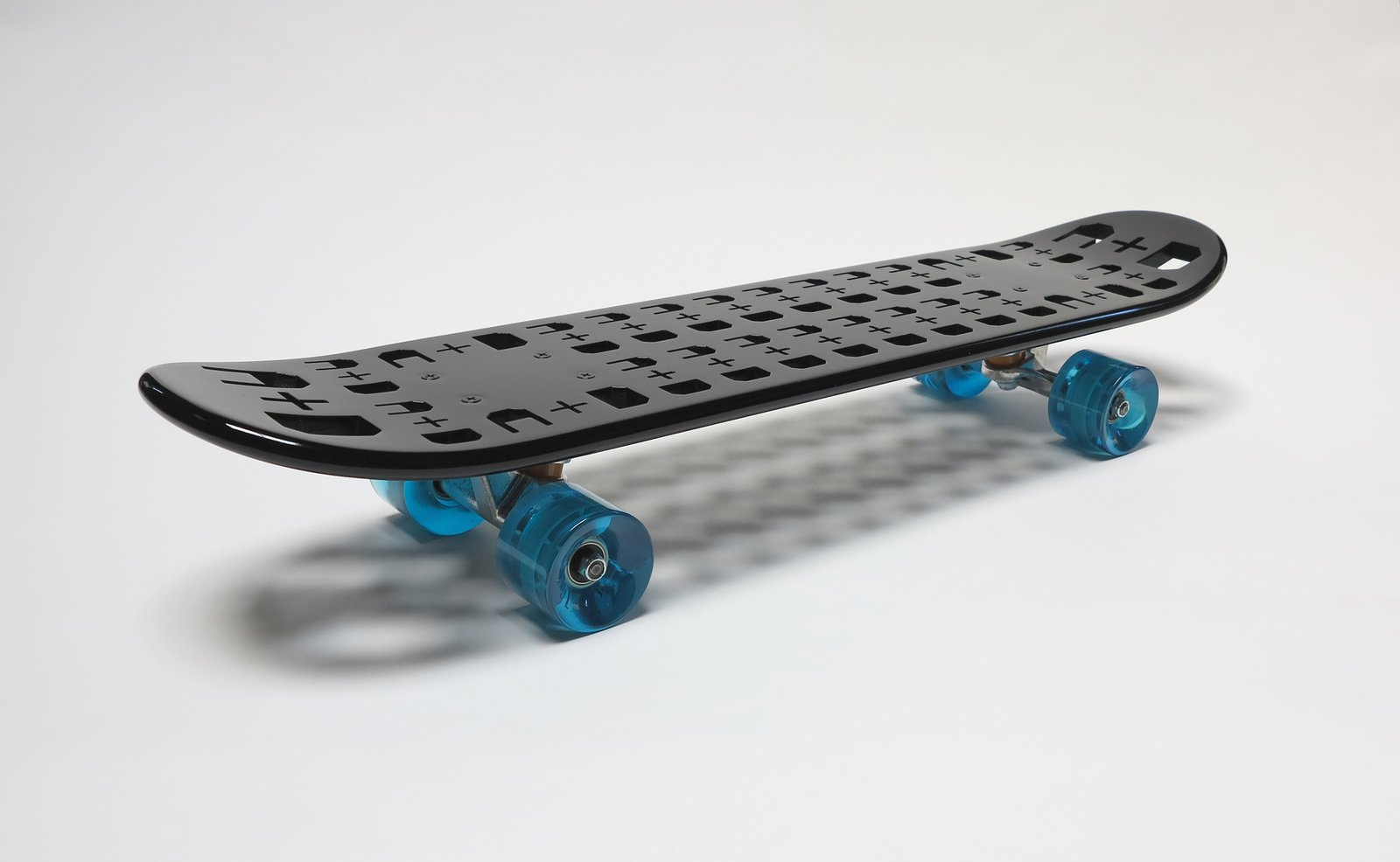 A 3-D-printed ABS skateboard with stock wheels from Chadwick Studio.  Modern Skate by Stephen Blake from Los Angeles Designers Tackle Surf and Skate Products for A+D Museum Gala
