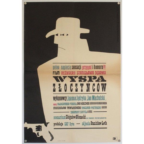 Wyspa Zloczyncow, original Polish film poster by Maciej Hibner c. 1965