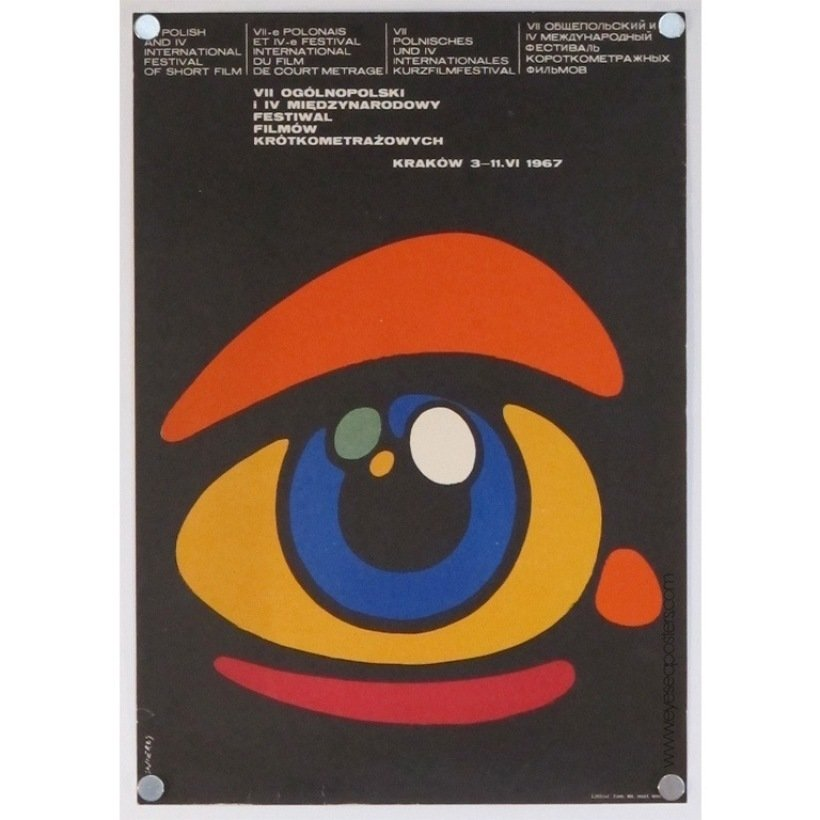 VII Ogolnopolski I Ivmiedzynarodowy Festiwal Filmow, original Polish poster by Waldemar Swierzy c. 1967  Photo 8 of 10 in 10 Posters from Poland's Golden Age of Graphic Design