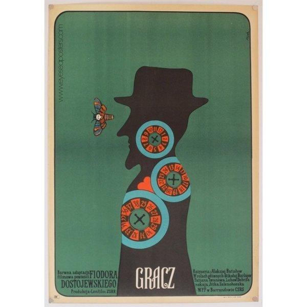 Gracz (The Player), original Polish film poster by Jerzy Flisak c. 1973