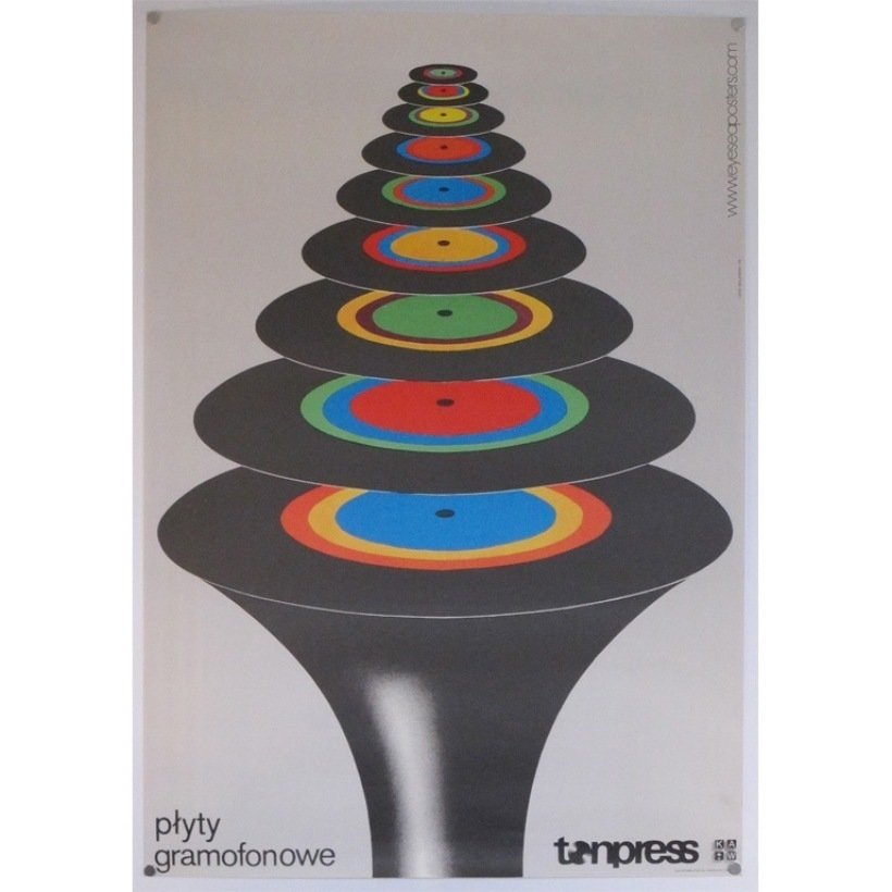 Plyty Gramofonowe Tonpress, original Polish poster by Lech Majewski c. 1978  Photo 10 of 10 in 10 Posters from Poland's Golden Age of Graphic Design
