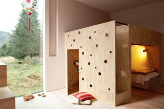 15 Modern and Creative Spaces For Kids - Photo 10 of 15 - The combination bunk bed and playhouse is another whimsical gesture Bergendy Cooke designed specifically for her two daughters. The spaces are organized in such a way that they can play independently or together.
