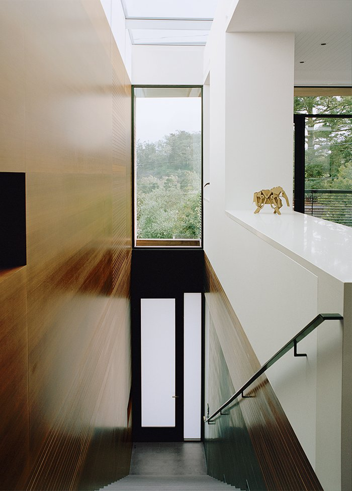 At the top of the stairs, a panorama of the Glen Park neighborhood is revealed.  Photo 4 of 13 in A Meticulous Renovation Turns a Run-Down House Into a Storage-Smart Gem