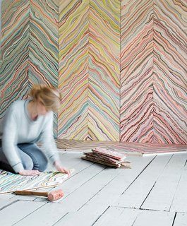 Color Me Mad! - Photo 6 of 31 - Marbelous Wood by Snedker Studio. Danish designer Pernille Snedker Hansen's custom installations involve treating local Nordic wood with a marbling effect in toned-down hues.