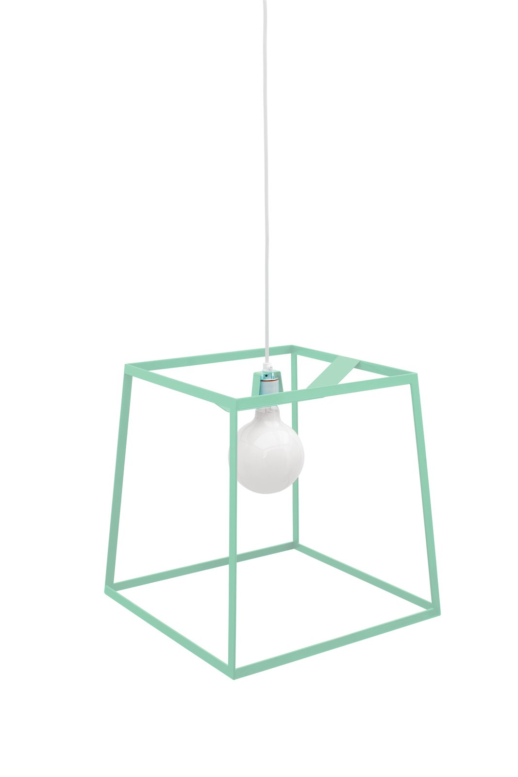 Frame light in Mint by Iacoli and McAllister. A powder-coated steel frame gives these spare pendant lights shape via negative space. Available in three sizes and six colors.  60+ Modern Lighting Solutions by Dwell from Home Trend: Pastel Furniture and Accessories