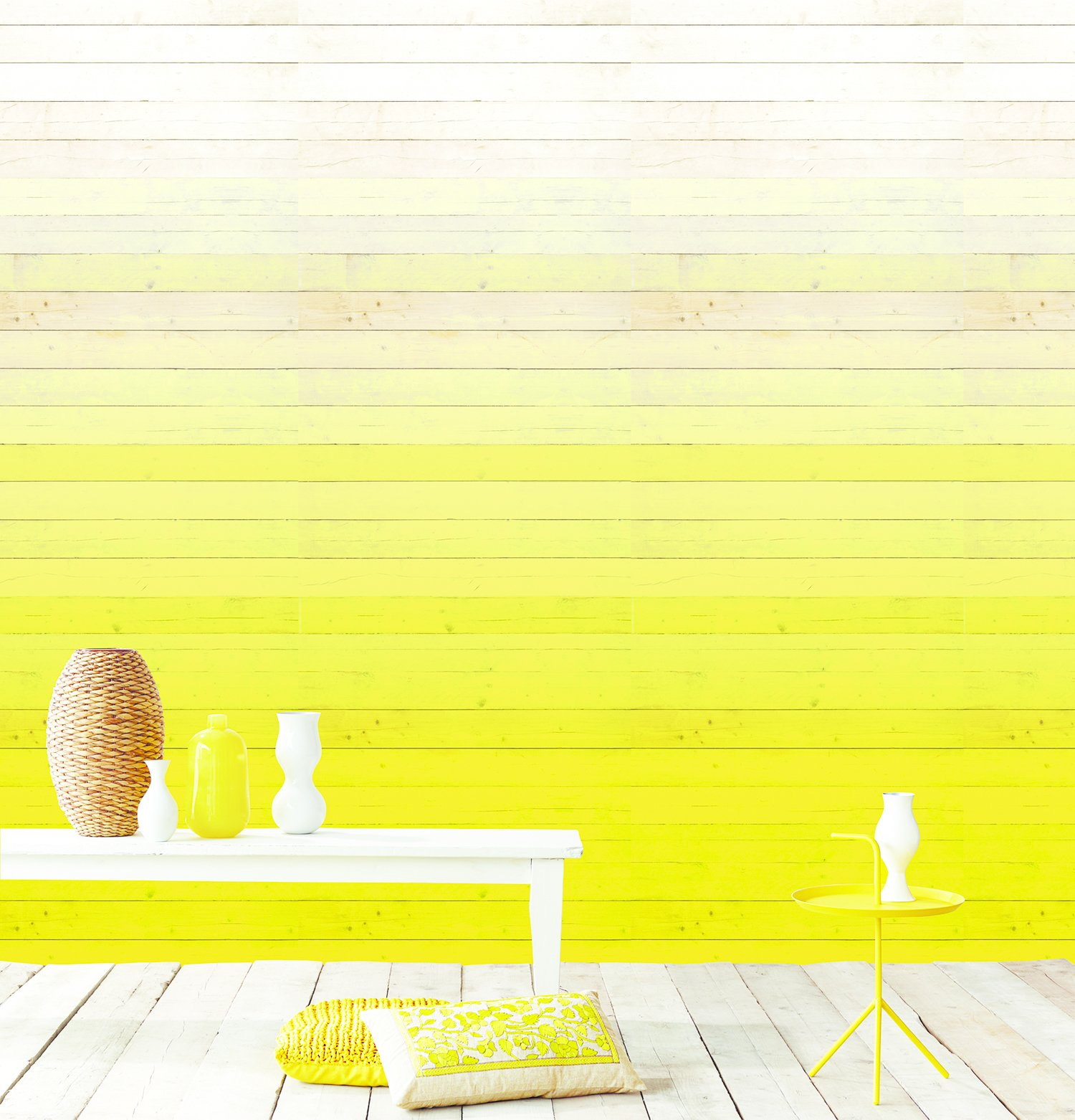 Degrado Amarillo wallpaper by Eijffinger. The Dutch company's Ibiza collection saturates walls in degrees with a photorealistic paper that adds an of-the-moment gradient  effect.  Colorful Intentions by Meg Dwyer from Home Trend: Pastel Furniture and Accessories