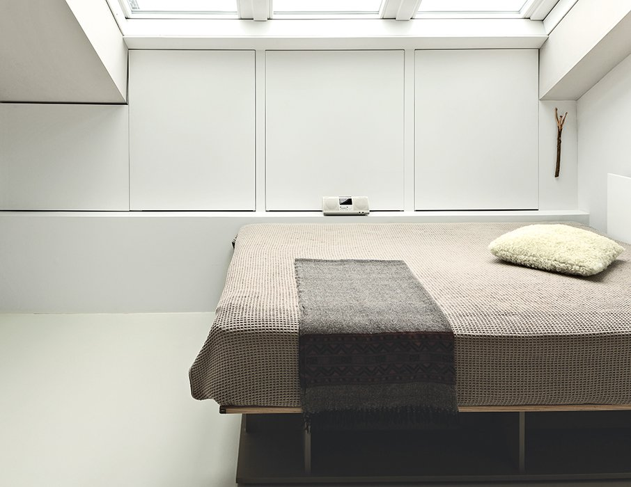 The bed, also by Hynam, is on casters, allowing ten Hompel to move it to gaze at the stars. Tagged: Bedroom and Bed.  Photo 9 of 10 in This Is How You Can Live Large in a Small Space