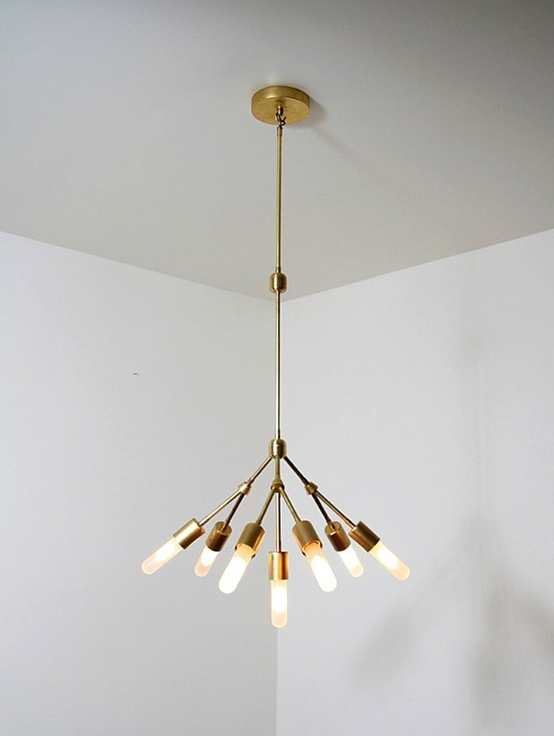 A closely knit group of tubular bulb lights known as the 'Seven.'