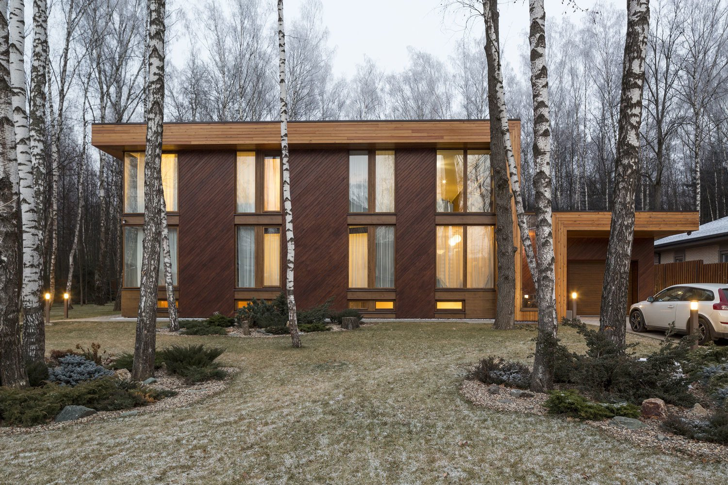 Though the house sits cozily at the back of a birch forest clearing, Zhidkov says no trees were cut during construction.