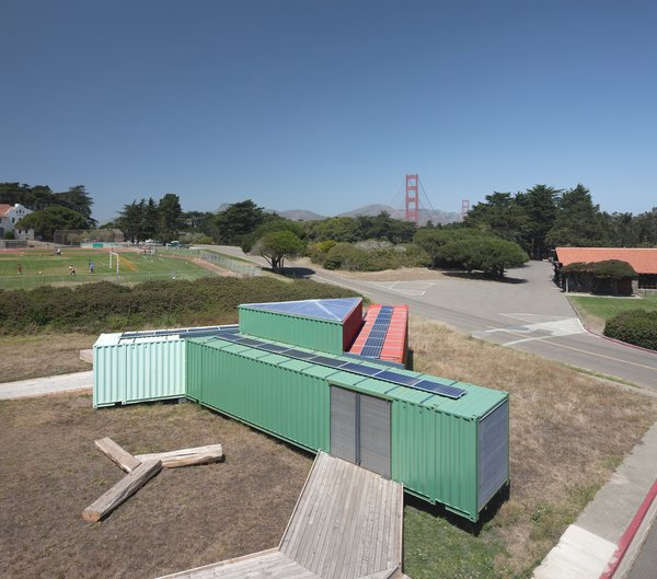 OPA wanted to free themselves from logic imposed by a grid and considered various inefficient configurations of shipping containers. They settled on a combination of options, seen in the trikselion shape here. The Presidio, San Francisco, California. Mobile exhibition pavilion for the For-Site Foundation. © Tim Griffith.