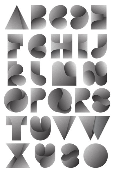 Alphabet and poster design, with wording form the Bowerbirds song 'Bright Future'.