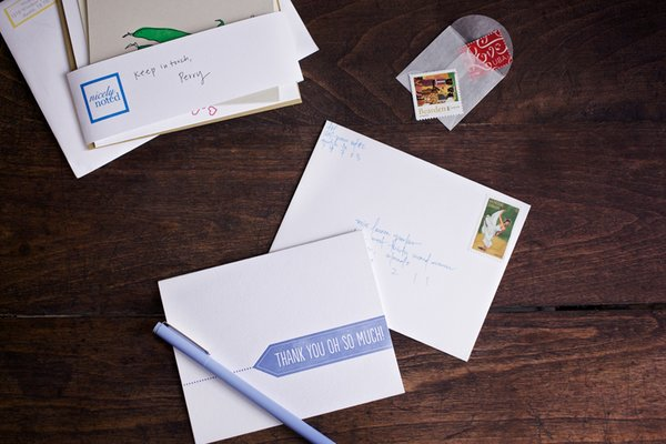 This is the set of cards and stamps that Nicely Noted sent out for January 2013. Photo by Kate LeSueur.