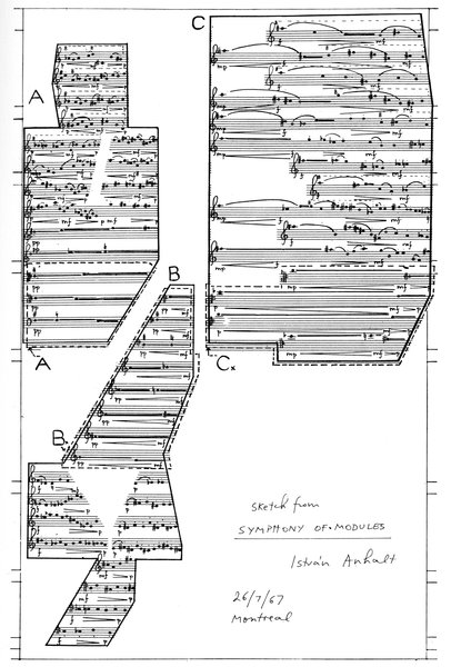 István Anhalt's sketch of the Symphony of Modules, which took him five years to compose.