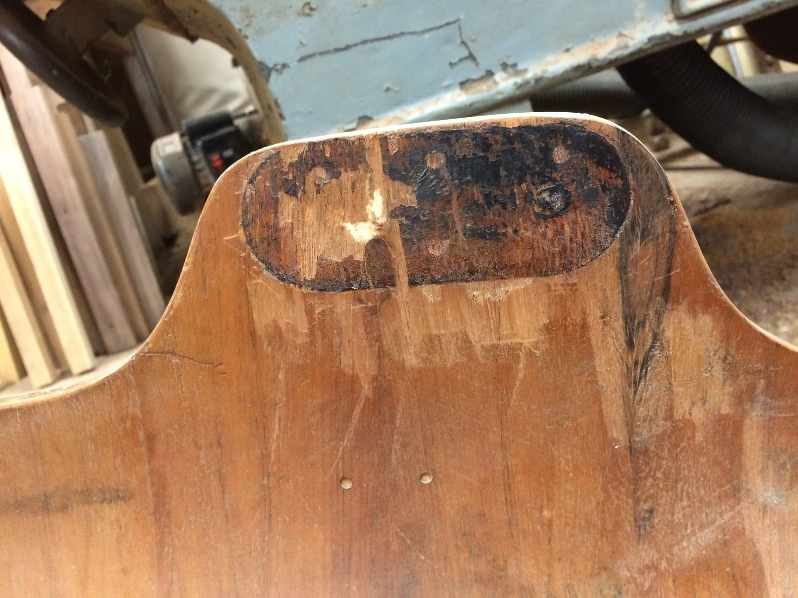Keep an eye on the adhesive areas of your piece. As time passes, they can weaken and compromise the structural integrity of the design. While this technology was originally revolutionary for it's time, this tends to happen in vintage Eames lounge chairs, as seen in this photo.