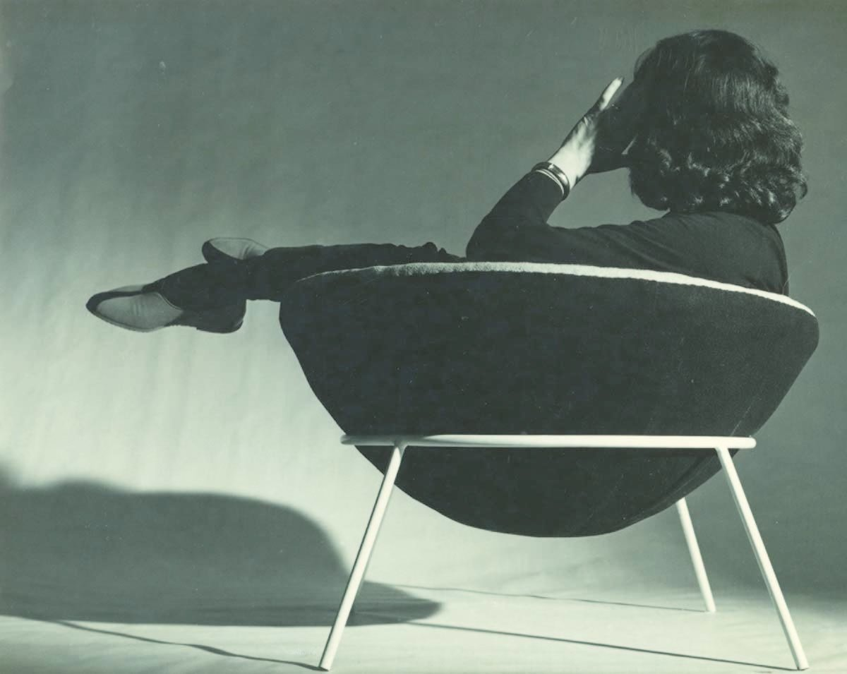Bo Bardi reclines in her world famous Bowl chair.  Photo 8 of 10 in Transformers of the Modern House: Albert Frey and Lina Bo Bardi at the Palm Springs Art Museum from Brazilian Modernist Lina Bo Bardi Gets Her Due in a New Exhibition