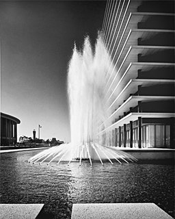 Department of Water and Power Building Corner with Fountains, 1965, photographed by Julius Shulman. Photo © J. Paul Getty Trust