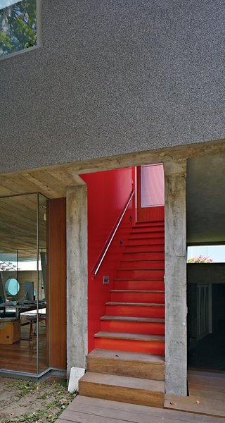 Given Lima's dry climate, the architects were able to introduce clever indoor-outdoor gestures such as an open stairwell, and semicovered walkways that allow the trees to provide cover.