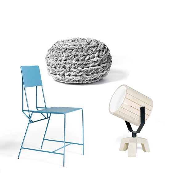 A. Industrial cranes inspired the Hensen chair by Jos Kranen and Johannes Gille for New Duivendrecht.<br><br>B. Sjoerd Jonkers uses upcycled cotton castoffs from the textile industry in the hand-crocheted Clew pouffe.<br><br>C. A runaway success for the manufacturer is the wood, steel, and concrete Barrel lamp designed by Nieuwe Heren.