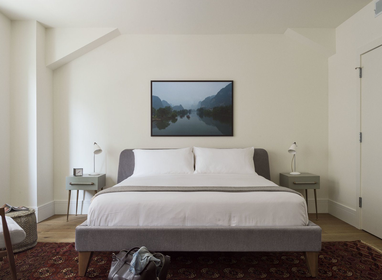 The custom artwork is from LUMAS and the bedside tables are Chelsea Textile. The apartments also contain Bosch washers and dryers.  Bedrooms by Dwell from For a Week or Month, You Can Pretend This Hotel Is Your Own Modern Apartment