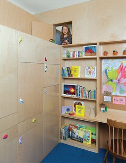 Sustainability Guided Every Decision at this Town House Remodel in Harlem - Photo 7 of 12 - Liv's 144-square-foot room now boasts a custom play area that comprises a reading nook, a loft bed with a secret passageway that opens just to the left of a built-in desk, and myriad storage options, all designed by Gus Deardoff, a theatrical set designer, and built by Peter Sobierajski of J&P Construction Services.