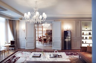 The Presidential Suite includes three bedrooms, a private fitness room, and an immense reception room opening up to the dining room.