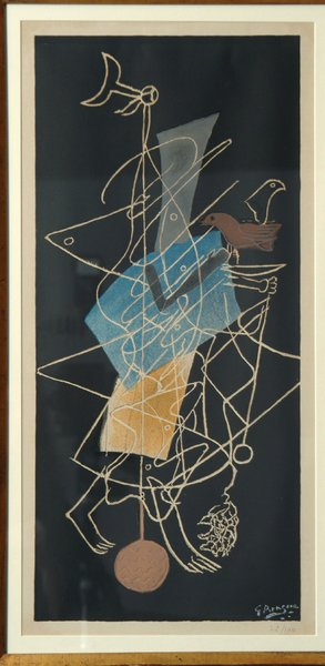 Sujet Mythologuique signed lithograph by George Braque—In 1928, G. David purchased his first important piece of art—a Paul Klee. By 1945, he owned four steel companies in Pittsburgh.