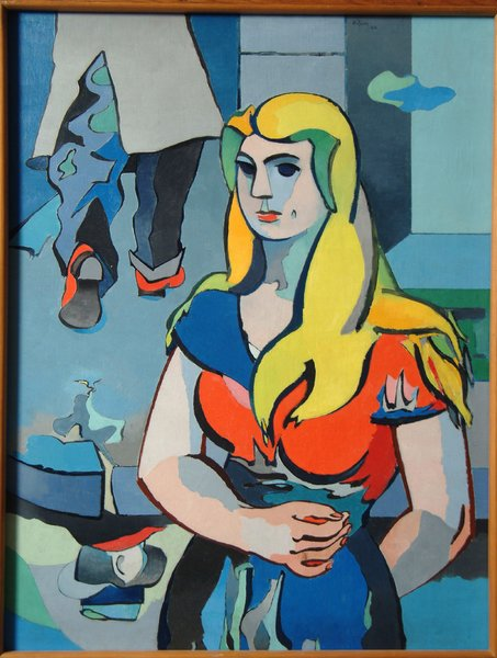 La Fille au Reflect D'Homme oil by Jean Helion— This oil by noted French abstract artist Jean Helion is the cover image for the new Peru Community Schools Art Gallery.