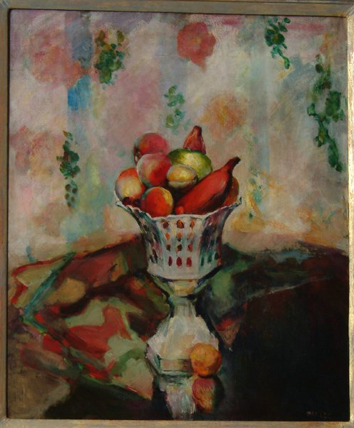 """Bowl of Fruit oil by Arthur Beecher Carles—When it came to showing his art collection at museums, G. David was adament on how his art would be displayed. For the ehibition at the Guggenheim Museum in the 1960's, he wrote the catalog introdution himself; """"Taste and experience play an important role. During the years I classified art as abstract or realistic and by schools such as DaDa or Surrealist. Today I recognize but two kinds....good art and bad art."""""""