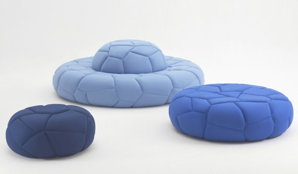 The Bubbles cushion was inspiried by, you guessed it—bubbles. The unique upholstering technique and the genius construction design has revived the traditional type of furniture and won the duo the 2013 IF Product Design Award.